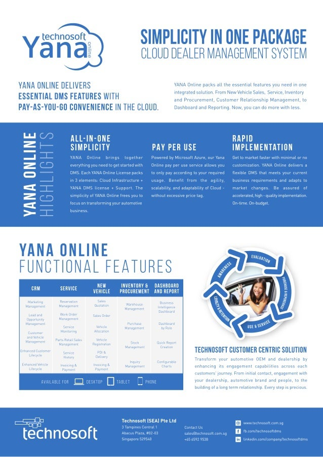 tech nosoft  Ya nal                 YANA ONLINE DELIVERS ESSENTIAL DMS FEATURES WITH  PAY-AS-YOU-CO CONVENIENCE IN THE CLO...