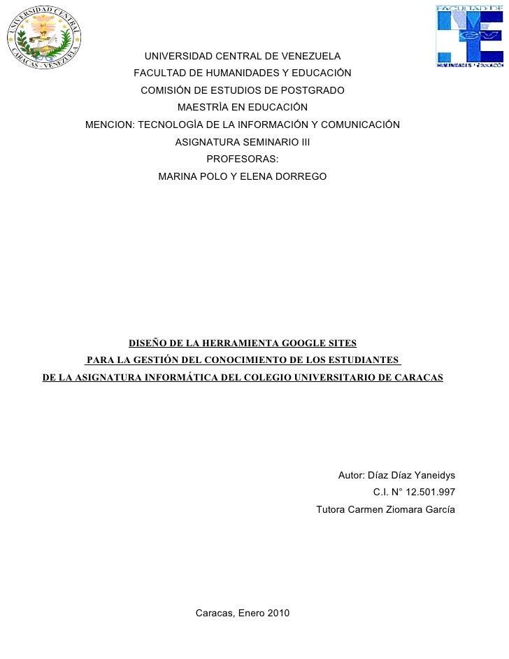 UNIVERSIDAD CENTRAL DE VENEZUELA               FACULTAD DE HUMANIDADES Y EDUCACIÓN                COMISIÓN DE ESTUDIOS DE ...