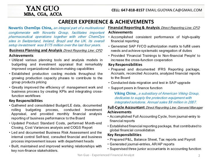 Yan Guo Financial Analyst Resume Package