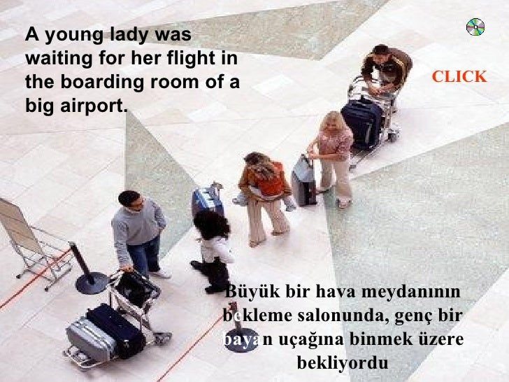 A young lady was waiting for her flight in                                              CLICK the boarding room of a big a...