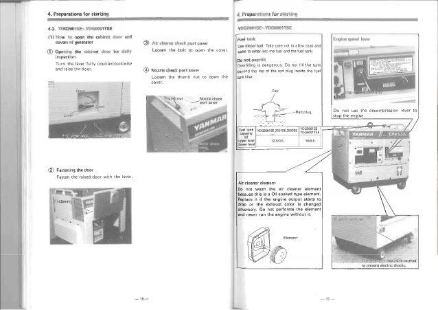 yanmar diesel generator operation manual engine tr lli 15 11