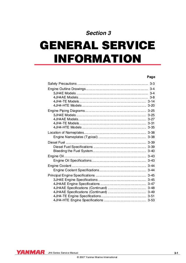 yanmar 4 jh4 te marine diesel engine service repair manual rh slideshare net diesel engine service manual diesel engine service manual