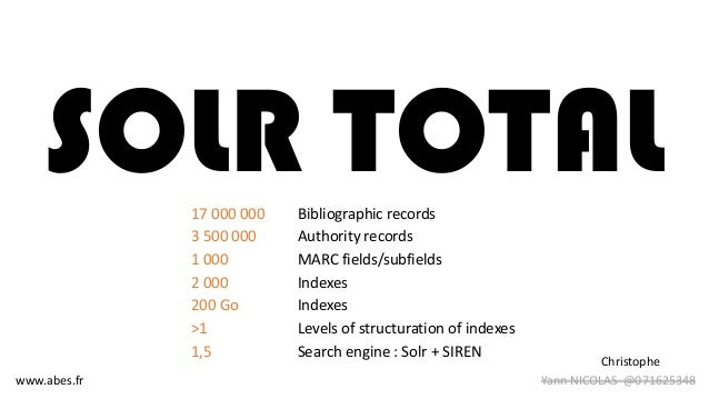 SOLR TOTAL17 000 000 Bibliographic records 3 500 000 Authority records 1 000 MARC fields/subfields 2 000 Indexes 200 Go In...