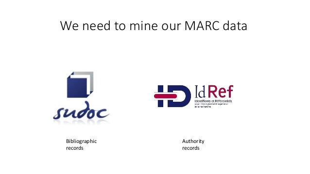 We need to mine our MARC data Bibliographic records Authority records