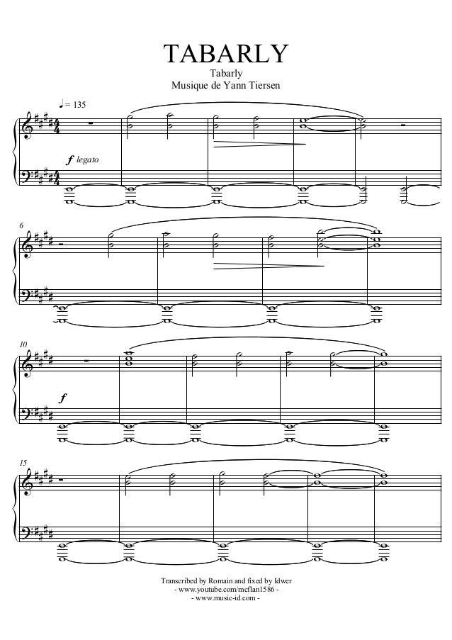 partition musique yann tiersen