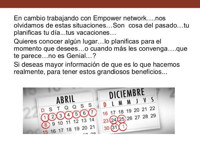 En cambio trabajando con Empower network….nos olvidamos de estas situaciones…Son cosa del pasado…tu planificas tu día...tu...