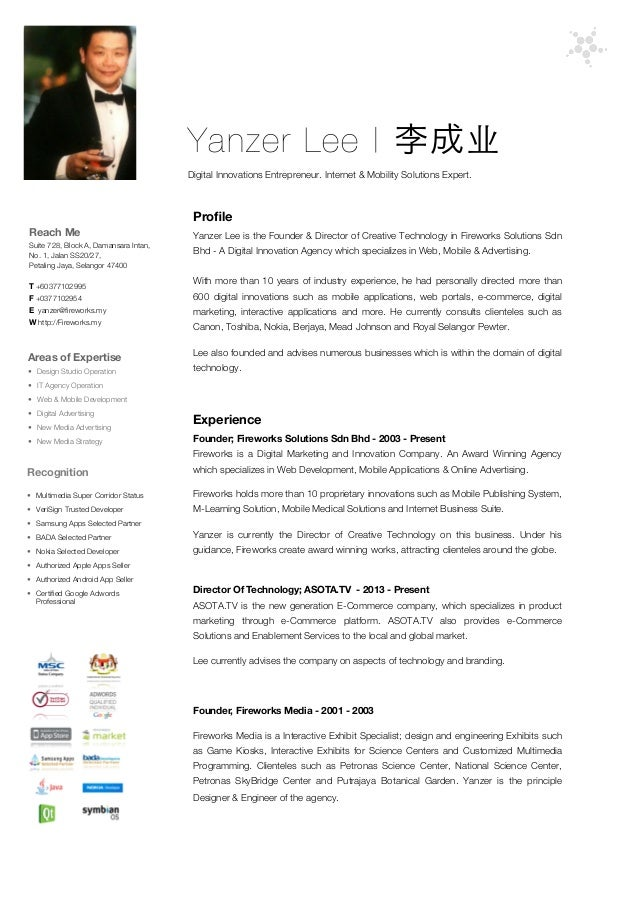 resume of yanzer lee  ceo of fireworks solutions sdn bhd 2013