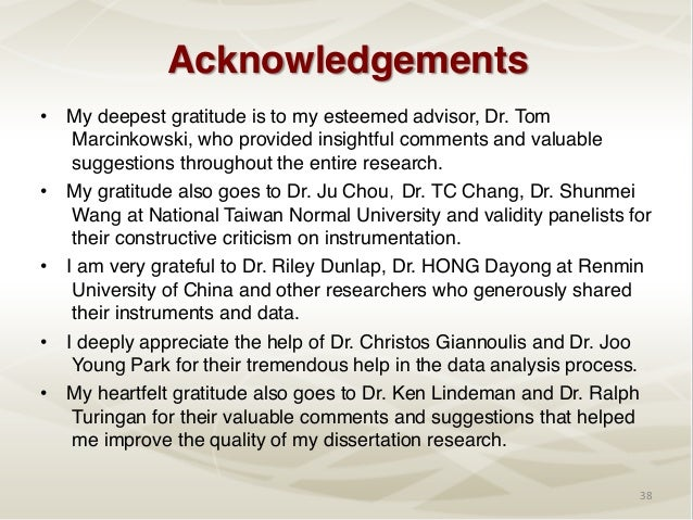 thesis acknowledgement to panelist