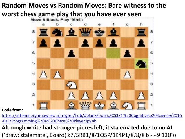API Python Chess: Distribution of Chess Wins based on random moves