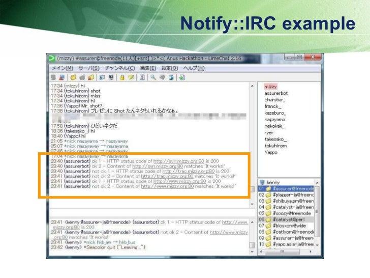 Notify::IRC example