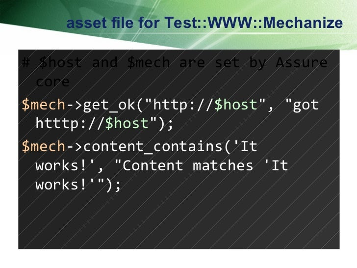 """asset file for Test::WWW::Mechanize # $host and $mech are set by Assure core $mech ->get_ok(""""http:// $host """", &q..."""