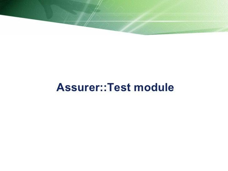 Assurer::Test module