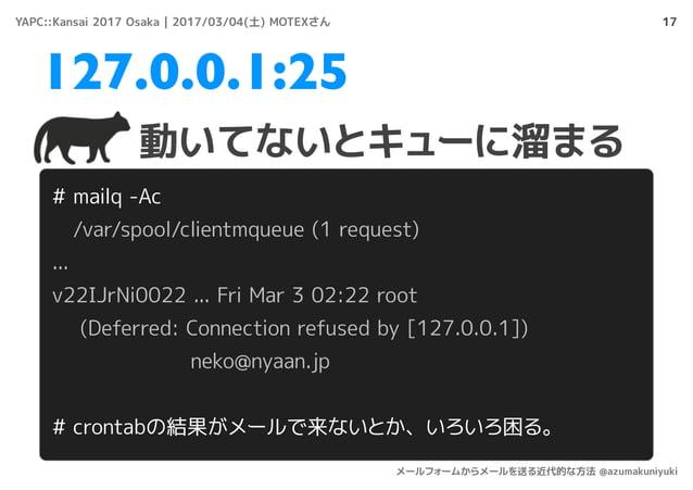 17 # mailq -Ac /var/spool/clientmqueue (1 request) ... v22IJrNi0022 ... Fri Mar 3 02:22 root (Deferred: Connection refused...