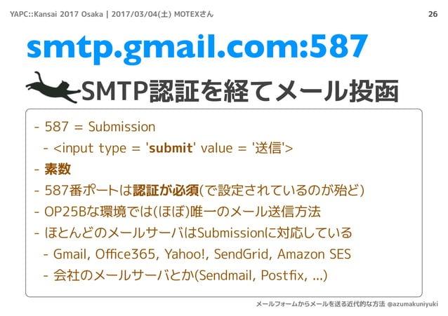 26 SMTP認証を経てメール投函 smtp.gmail.com:587 - 587 = Submission - <input type = 'submit' value = '送信'> - 素数 - 587番ポートは認証が必須(で設定されて...