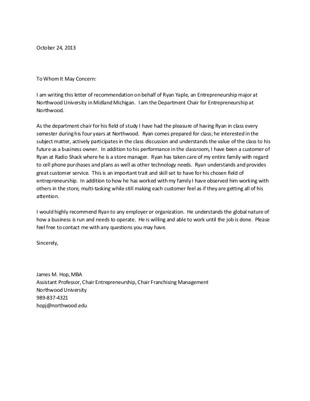 Yaple recommendation letter – Mba Recommendation Letter