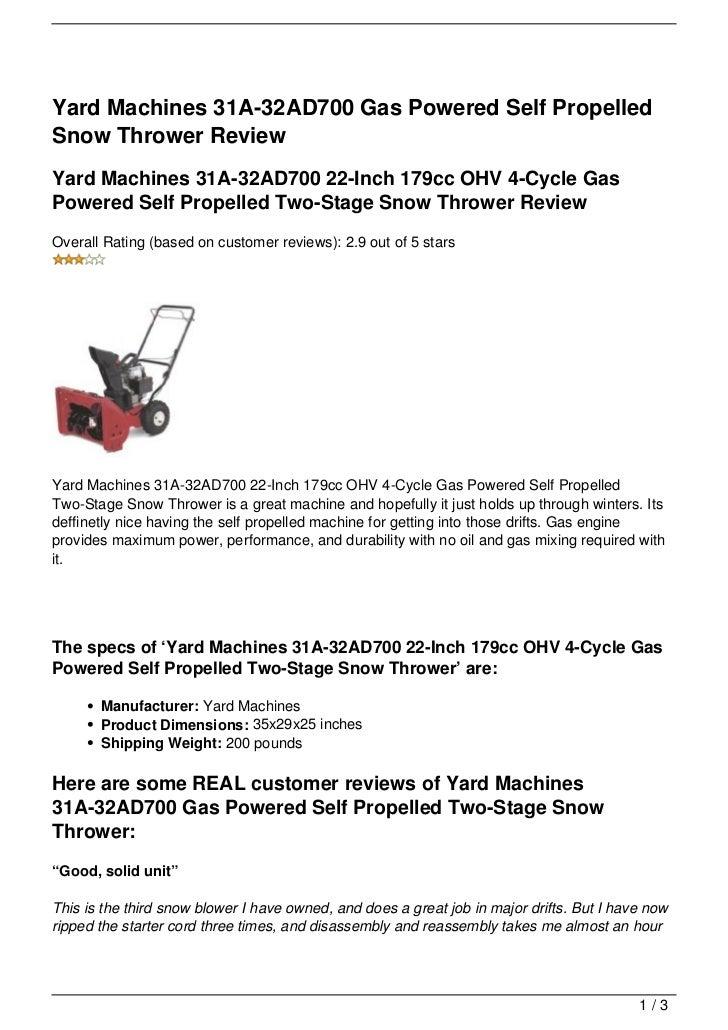 yard machine 179cc snowblower manual