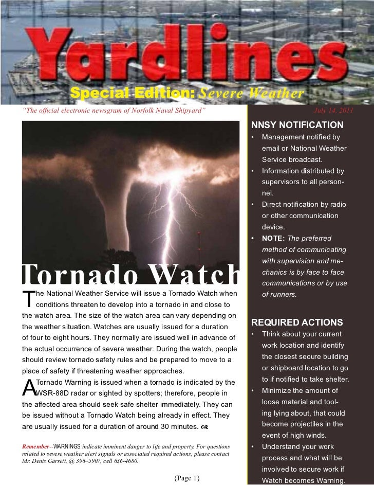 """Special Edition: Severe Weather   """"TheofficialelectronicnewsgramofNorfolkNavalShipyard""""                           ..."""