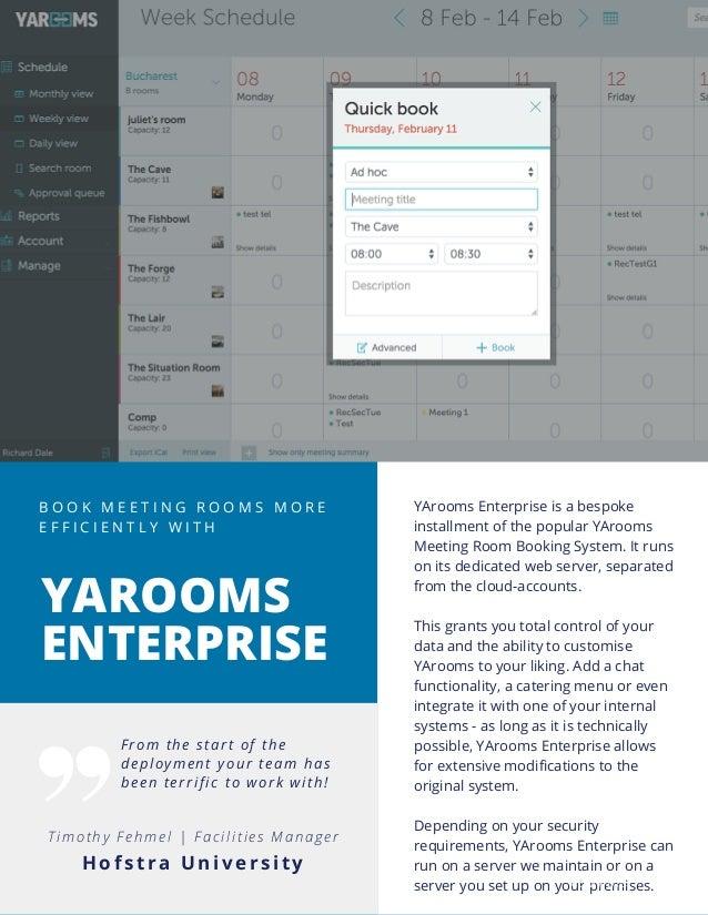YArooms online meeting room booking software - Enterprise Brochure