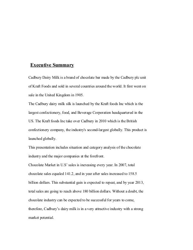 project report on chocolate – Executive Summary Format for Project Report
