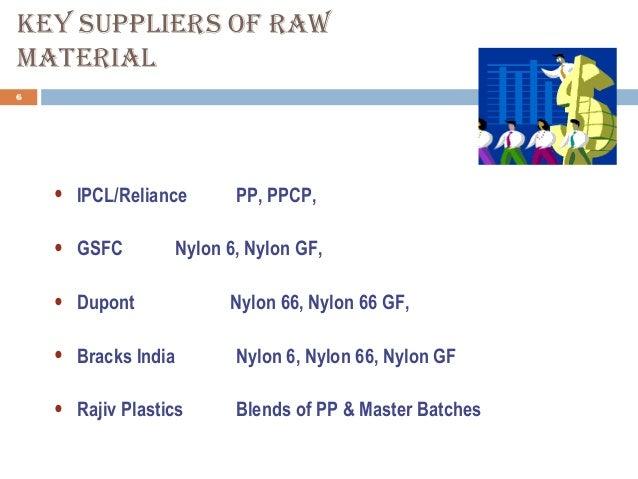 KeY supplIers of raW MaterIal 6 • IPCL/Reliance PP, PPCP, • GSFC Nylon 6, Nylon GF, • Dupont Nylon 66, Nylon 66 GF, • Brac...