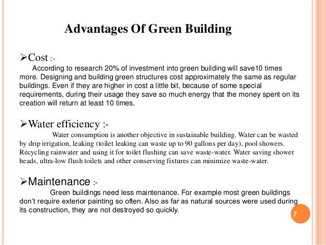 ... and environmentally friendly buildings. 6; 7. Advantages Of ...