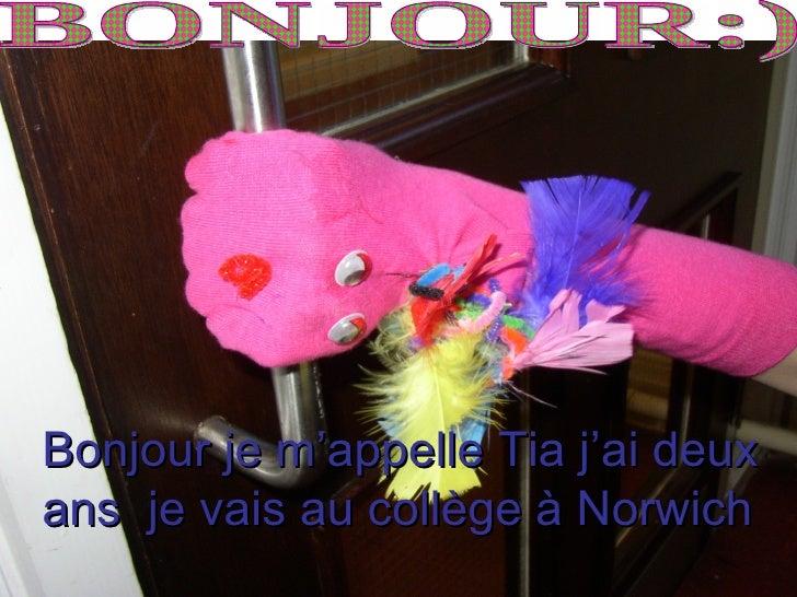 Bonjour je m'appelle Tia j'ai deux ans je vais au collège à Norwich