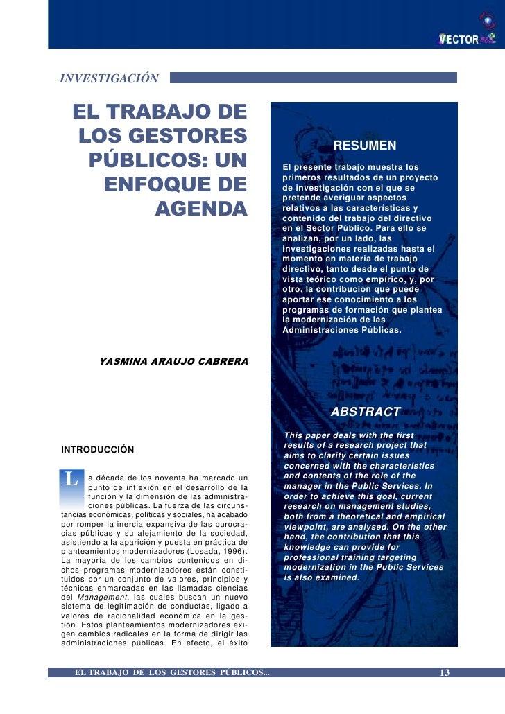 INVESTIGACIÓN   EL TRABAJO DE   LOS GESTORES                                                   RESUMEN    PÚBLICOS: UN    ...