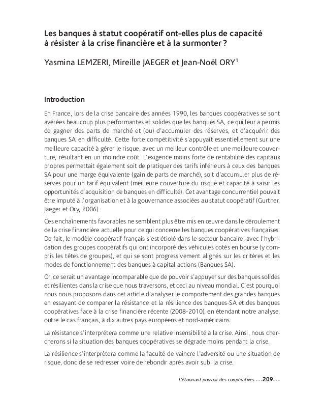 14-Lemzeri_Mise en page 1 12-09-05 13:41 Page209                Les banques à statut coopératif ont-elles plus de capacité...