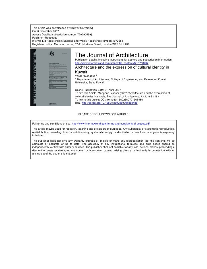 This article was downloaded by:[Kuwait University] On: 6 November 2007 Access Details: [subscription number 779290559] Pub...