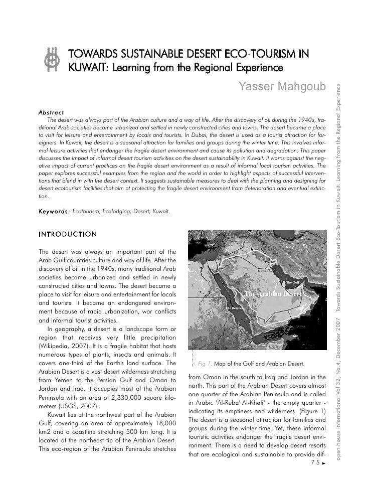 TOWARDS SUSTAINABLE DESERT ECO-TOURISM IN                                                   T             KUWAIT: Learning...