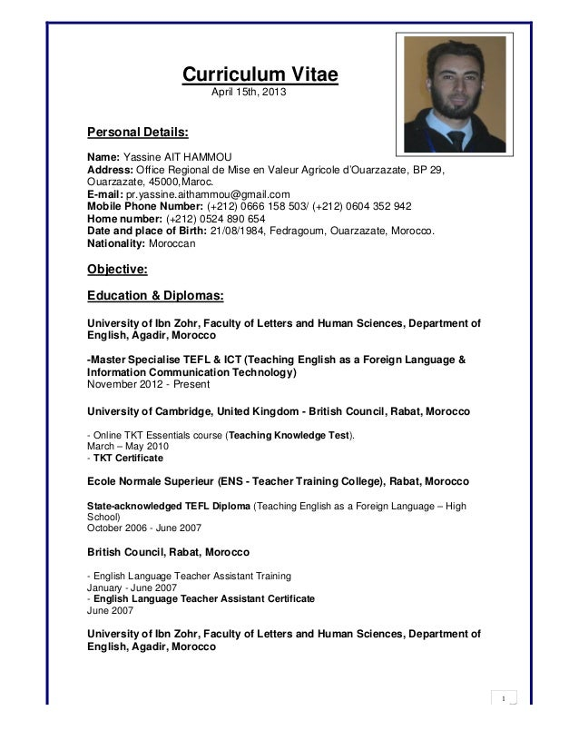 curriculum vitae april 15th 2013personal detailsname yassine ait hammouaddress - Resume Sample English Language Teacher