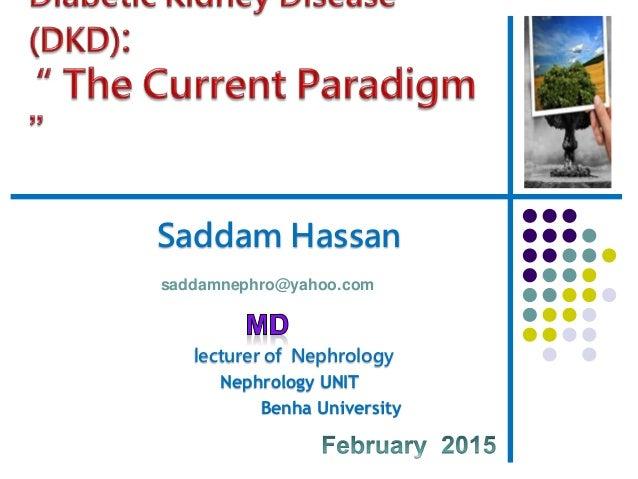 Saddam Hassan lecturer of Nephrology Nephrology UNIT Benha University saddamnephro@yahoo.com