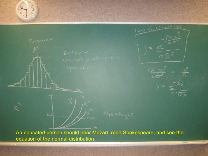 An educated person should hear Mozart, read Shakespeare, and see the equation of the normal distribution.
