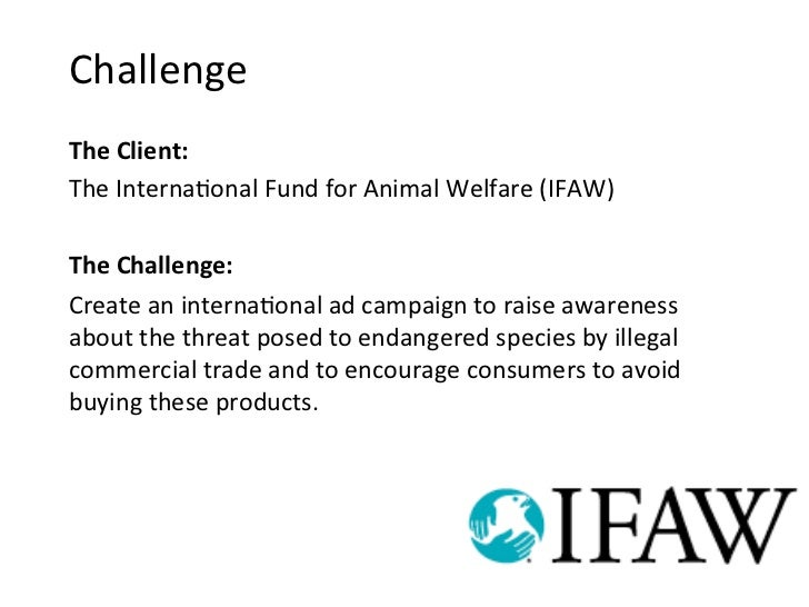 Challenge	  The	  Client:	  	  The	  Interna-onal	  Fund	  for	  Animal	  Welfare	  (IFAW)	  	  The	  Challenge:	  	  Crea...