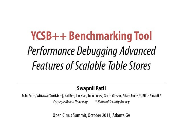 YCSB++ BenchmarkingToolPerformanceDebuggingAdvancedFeaturesofScalableTableStoresSwapnil PatilMilo Polte,WittawatTantisirir...
