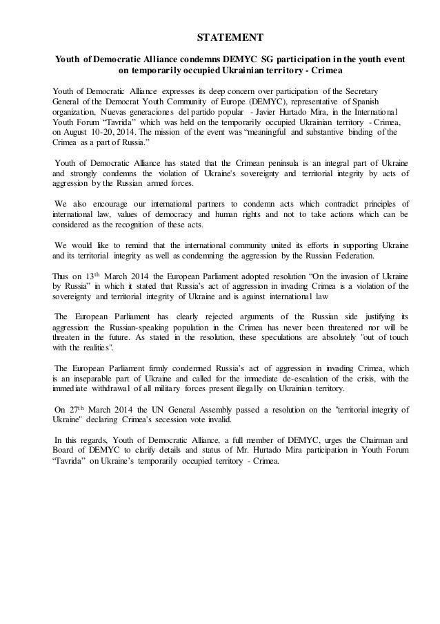 STATEMENT Youth of Democratic Alliance condemns DEMYC SG participation in the youth event on temporarily occupied Ukrainia...