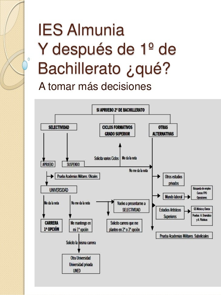 IES Almunia Y después de 1º de Bachillerato ¿qué? <br />A tomar más decisiones<br />