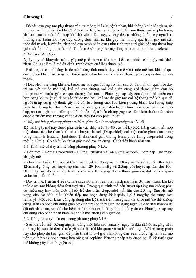 Chương 1 7 - Độ sâu của gây mê phụ thuộc vào sự thông khí của bệnh nhân, khi thông khí phút giảm, áp lực bốc hơi tăng và n...