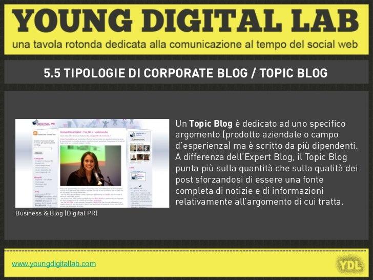 5.5 TIPOLOGIE DI CORPORATE BLOG / TOPIC BLOG                                                       Un Topic Blog è dedicat...
