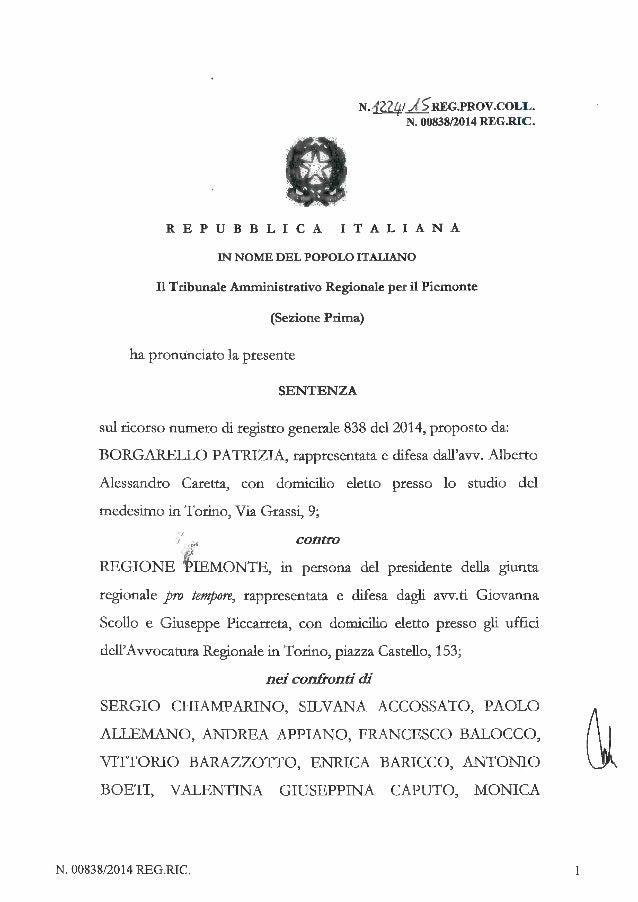 La sentenza Borgarello che proscioglie la giunta Chiamparino