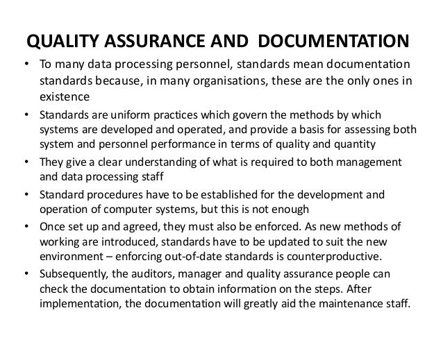 L9 quality assurance and documentation