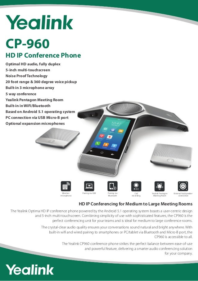 Yealink CP960 HD IP Conference Phone Data Sheet