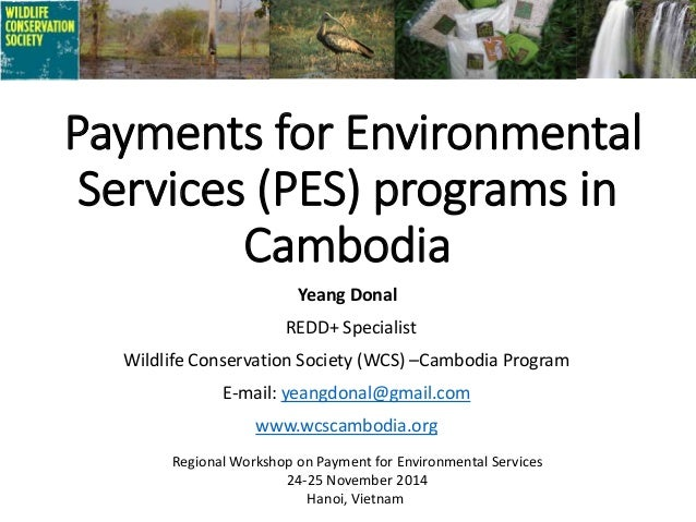 Payments for Environmental Services (PES) programs in Cambodia Yeang Donal REDD+ Specialist Wildlife Conservation Society ...