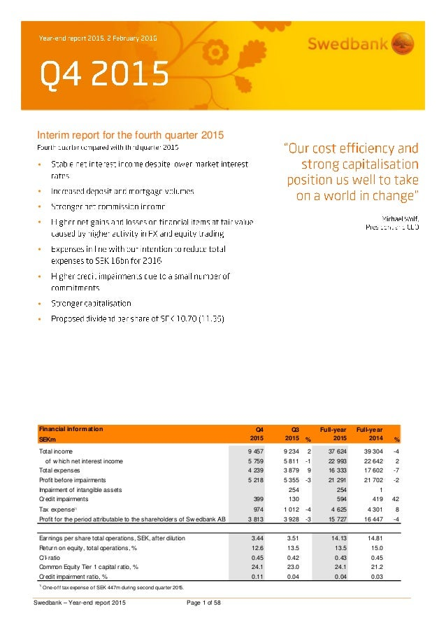 Swedbank – Year-end report 2015 Page 1 of 58 Interim report for the fourth quarter 2015         Financial informat...