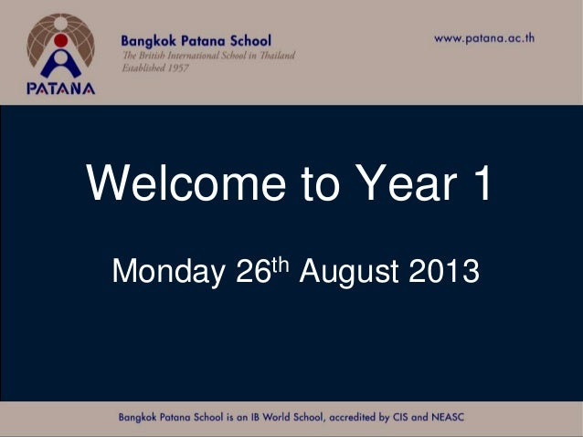 Welcome to Year 1 Monday 26th August 2013