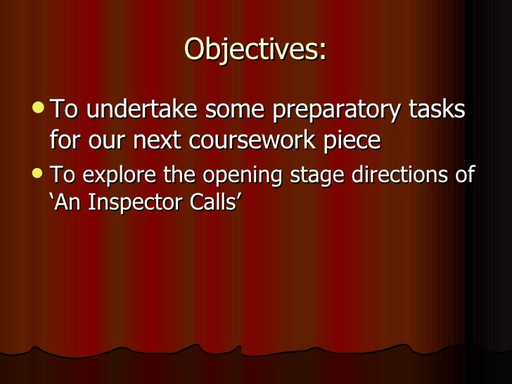 Objectives: <ul><li>To undertake some preparatory tasks for our next coursework piece </li></ul><ul><li>To explore the ope...