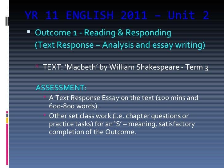 Macbeth text response essay