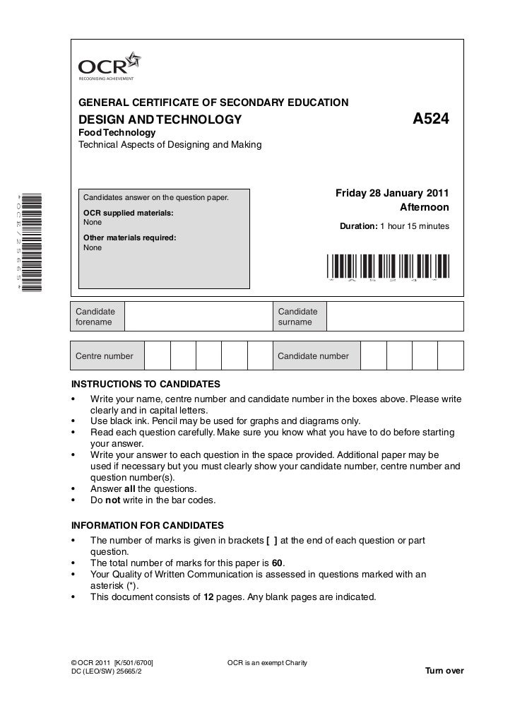 GENERAL CERTIFICATE OF SECONDARY EDUCATION                            DESIGN AND TECHNOLOGY                               ...