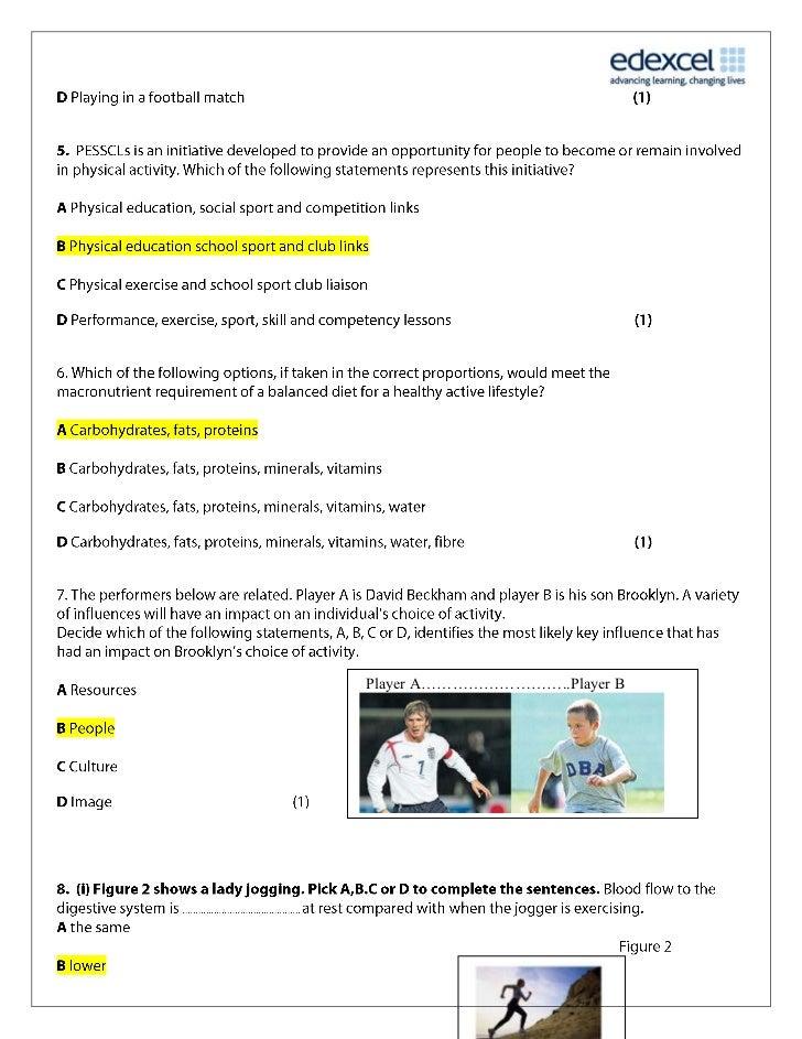 Year 11 PE Mock Jan 11 - Mark Scheme Slide 3