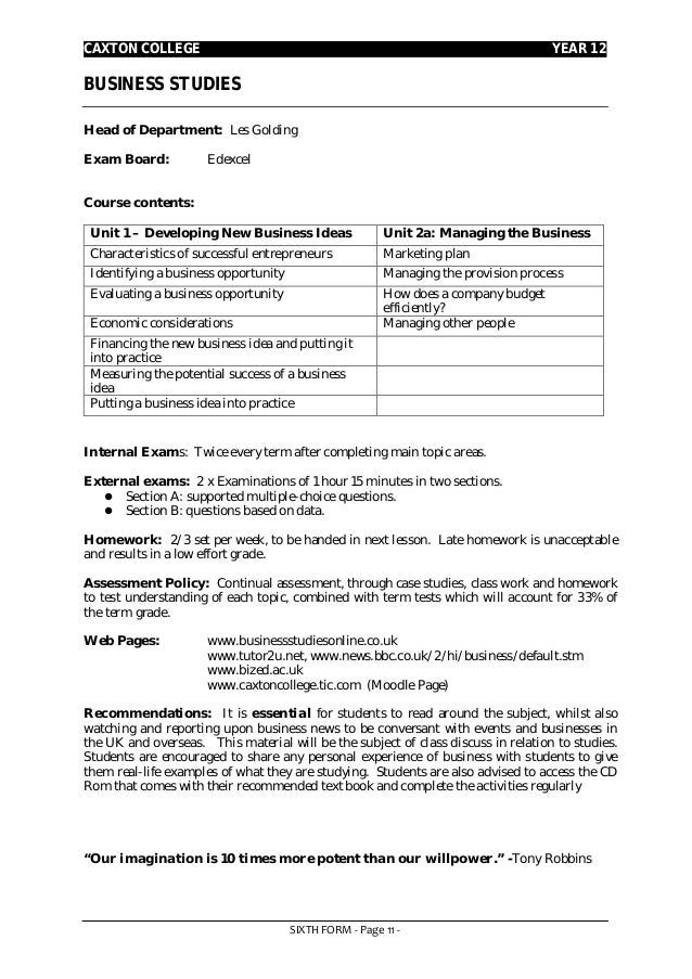 Year 12 subject information 2013 14